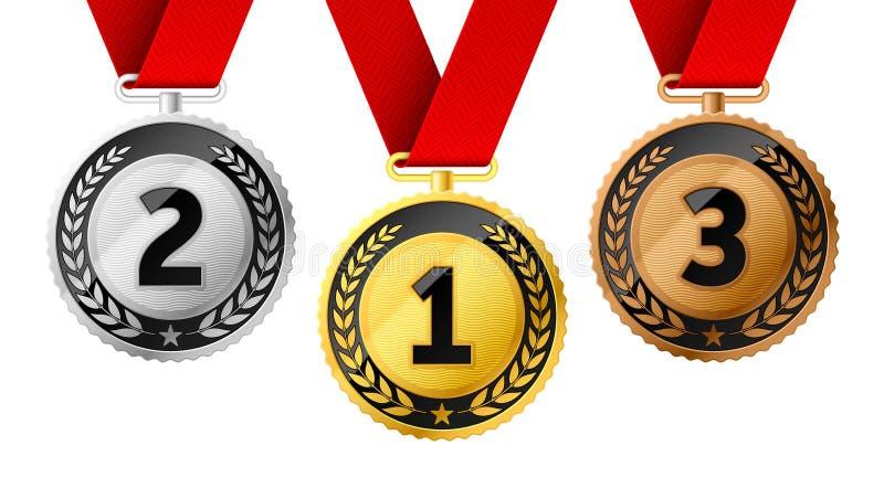 Sostiene l'oro, l'argento e le medaglie di bronzo illustrazione vettoriale