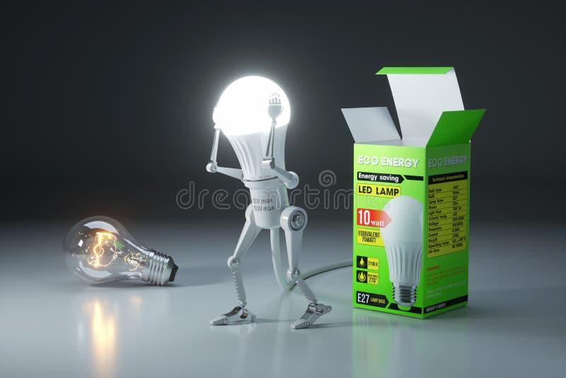 Sostituzione della lampadina del robot una lampada tradizionale ad un risparmio energetico LE royalty illustrazione gratis