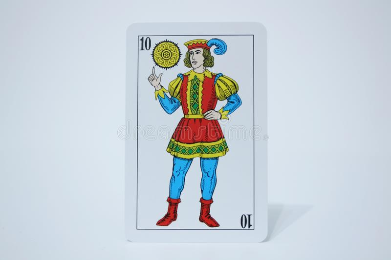 SOTA DE OROS. Close view of the cards of the Spanish deck stock images