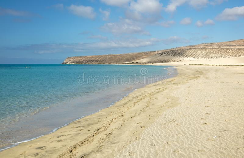 Sotavento海滩在费埃特文图拉岛,加那利群岛,西班牙 图库摄影