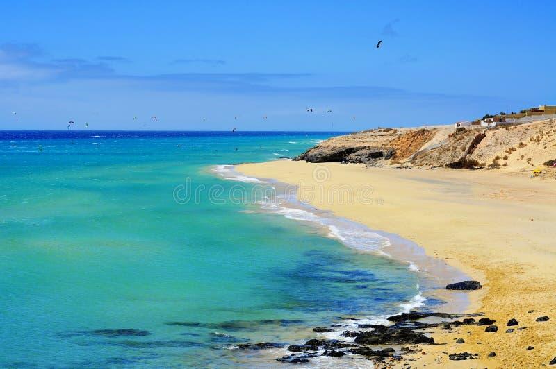 Sotavento海滩在费埃特文图拉岛,加那利群岛 免版税库存图片