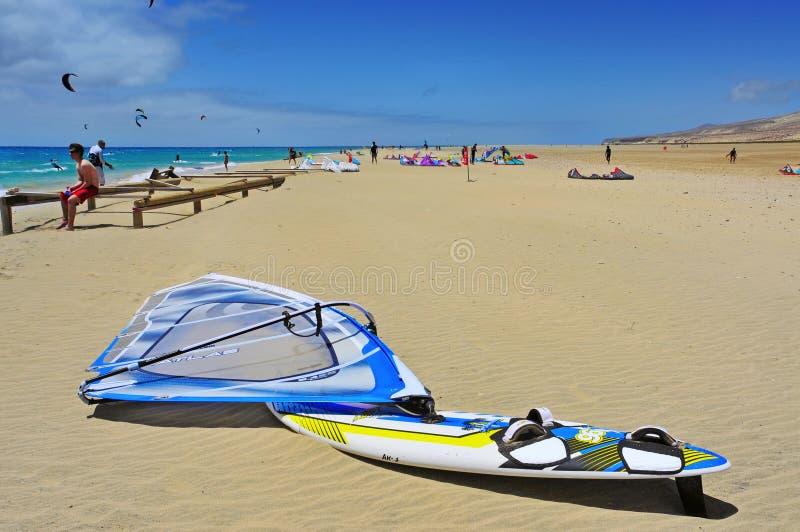 Sotavento海滩在费埃特文图拉岛,西班牙 免版税库存图片
