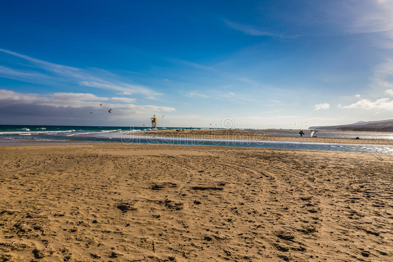 Sotavento海滩费埃特文图拉岛,加那利群岛,西班牙 免版税库存照片