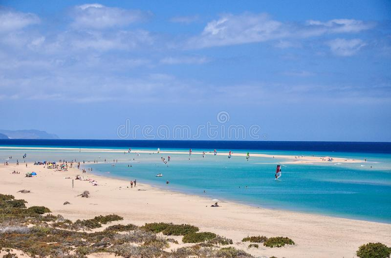 Sotavento laguna beach at the south of Fuerteventura Island. Endless white sand beach, shallow turquoise water makes it a stock images