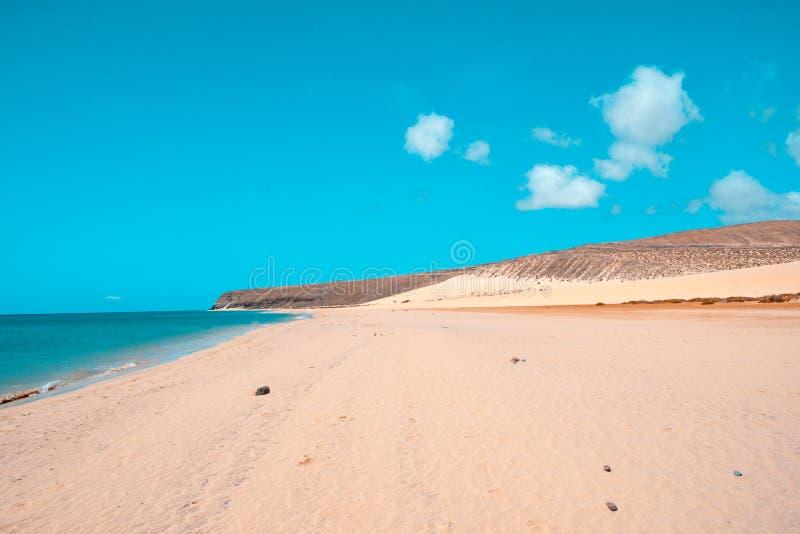 Sotavento海滩在费埃特文图拉岛,加那利群岛,西班牙 库存图片