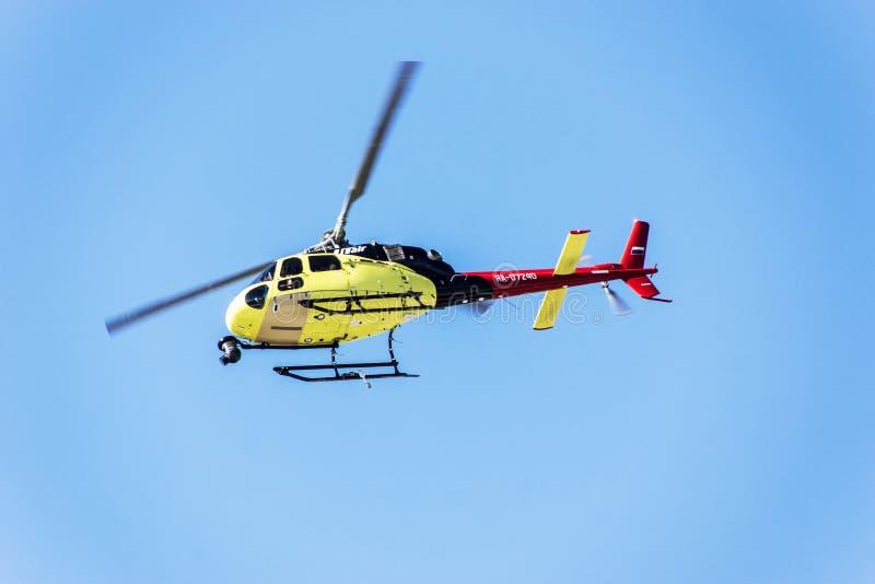 Sotchi autodrom, Helikoptertelevisie was levende uitzending royalty-vrije stock foto