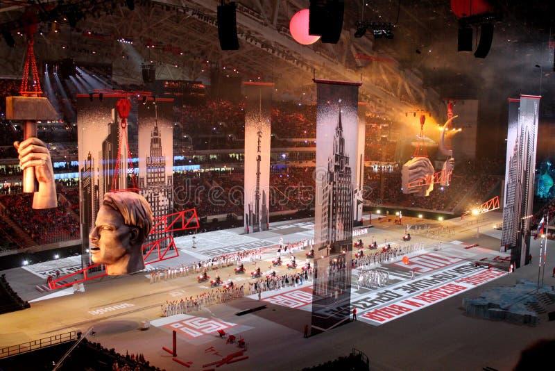 SOTCHI, RUSLAND - FEBRUARI 7, 2014: beeld van Moskou van de tweede stock foto