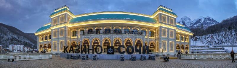 SOTCHI, 3 RUSLAND-JANUARI, 2017: Casino in de skitoevlucht van Gorki Gorod royalty-vrije stock afbeelding