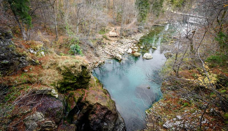 Soteska Vintgar、Vintgar峡谷或者流血的峡谷在斯洛文尼亚 免版税库存图片