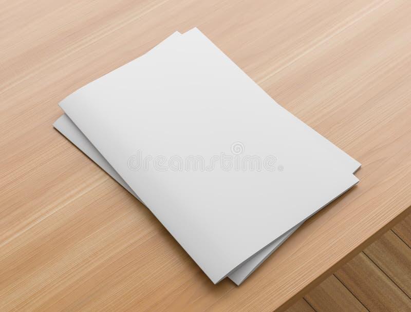 Sotfcover-Zeitschrift, Katalog oder Brosch?renspott oben auf Holztisch Format A4 Abbildung 3D lizenzfreie abbildung