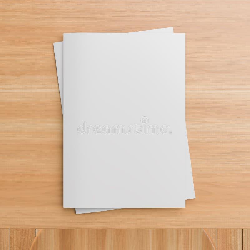 Sotfcover-Zeitschrift, Katalog oder Brosch?renspott oben auf Holztisch Format A4 Abbildung 3D lizenzfreie stockfotografie