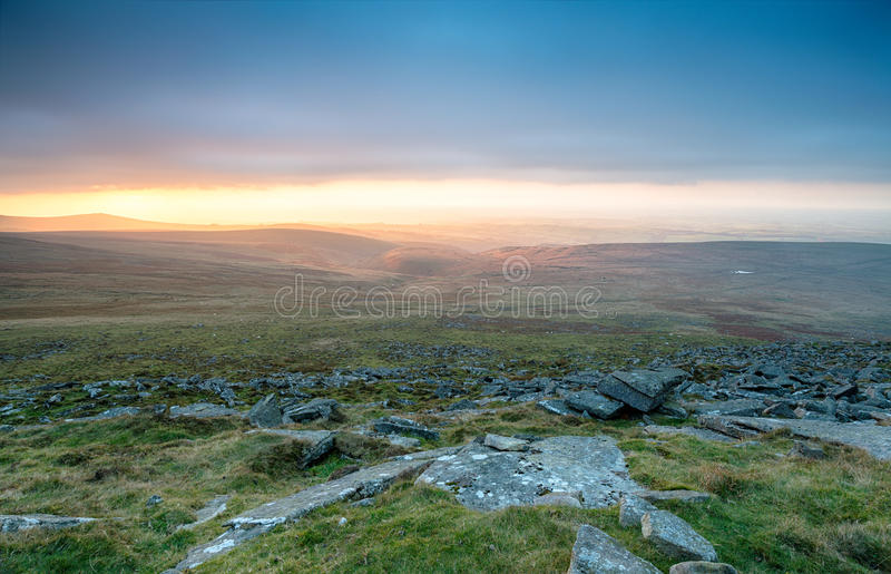 Sotmy Brewing Over Dartmoor. A storm brewing over Dartmoor National Park from the top of West Mill Tor near Okehampton in Devon royalty free stock photography