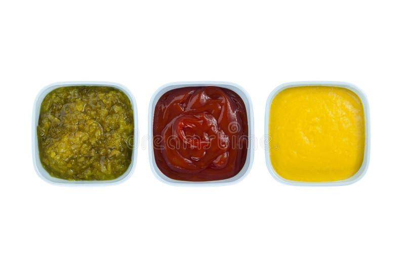 Sottaceti della senape del ketchup fotografie stock