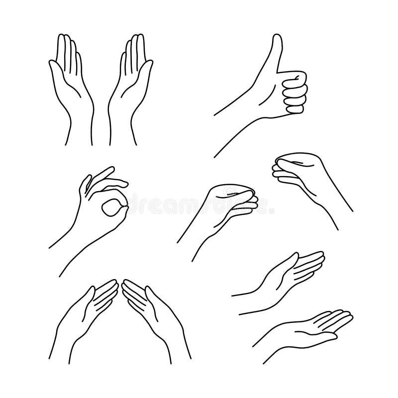 Sottile raccolta delle mani nere del disegno a tratteggio royalty illustrazione gratis