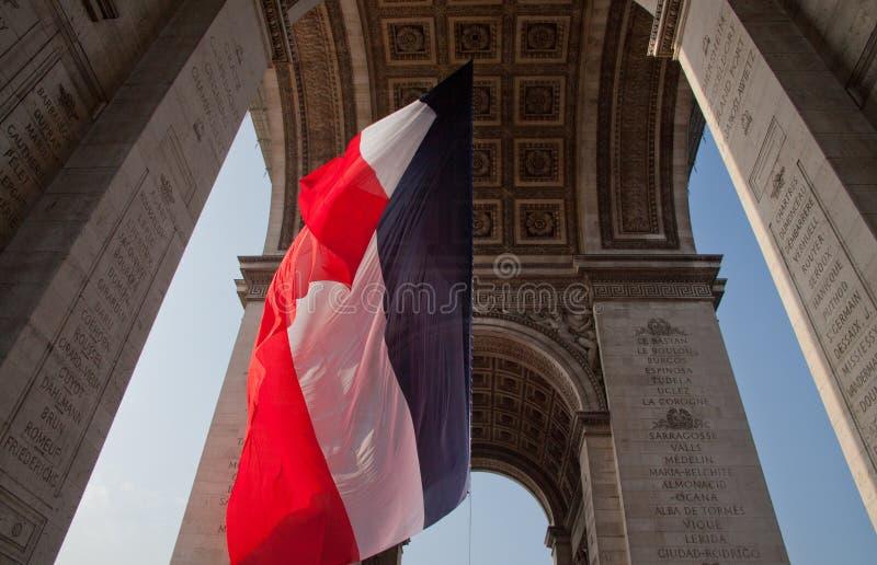 Sotto Arch de Triomphe Parigi immagini stock
