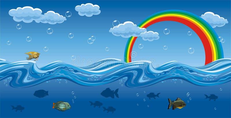 Sotto e su acqua illustrazione vettoriale