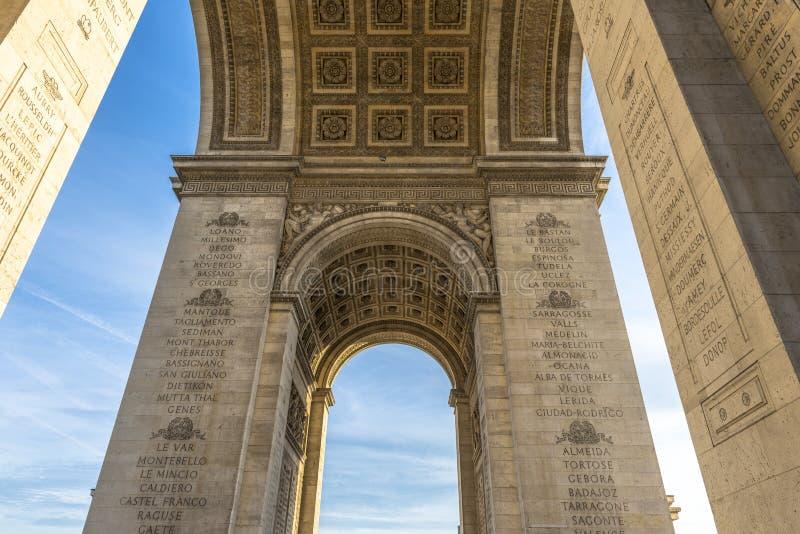 Sotto il Arc de Triomphe immagini stock