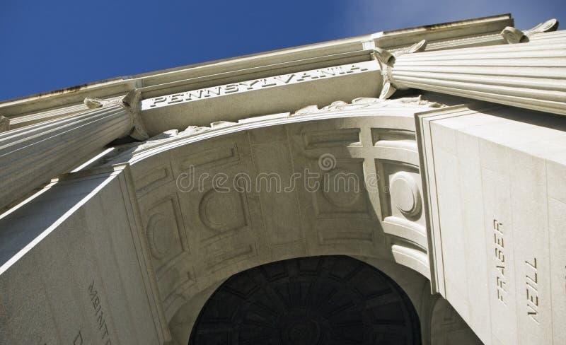 Sotto il monumento della Pensilvania, campo di battaglia di Gettysburg, Pennsyl fotografie stock