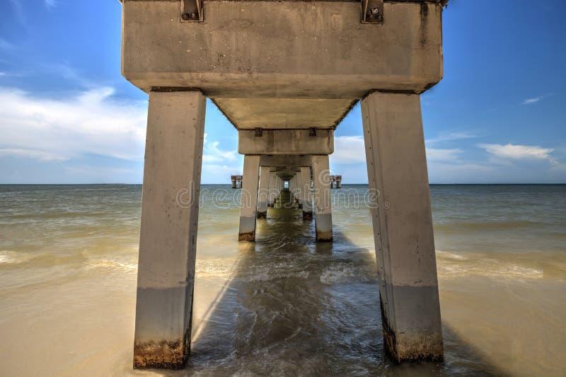 Sotto il sentiero costiero di Myers Pier forte su Myers Beach forte fotografia stock