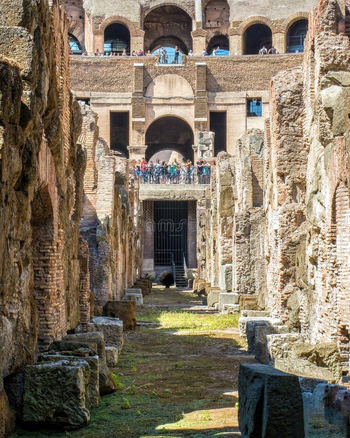 Sotto l'arena, Colosseum, Roma fotografia stock