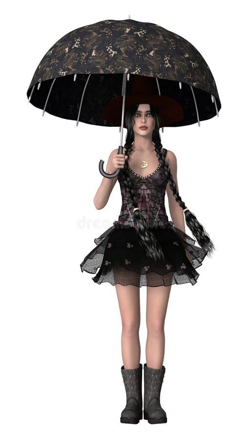 Sotto l'ombrello illustrazione vettoriale