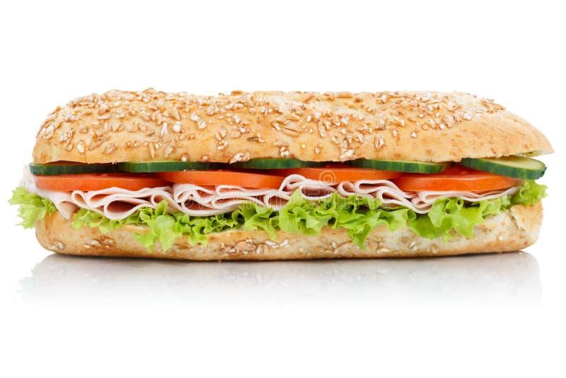 Sotto panino con l'intero isolat di laterale delle baguette del grano dei grani del prosciutto immagine stock