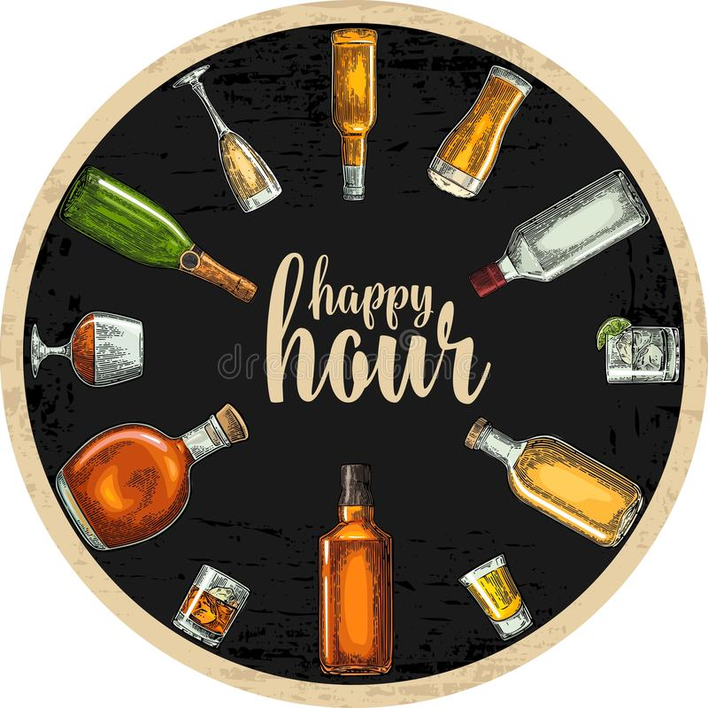 Sottobicchiere con la bottiglia ed il vetro con birra, whiskey, tequila, cognac, rum royalty illustrazione gratis