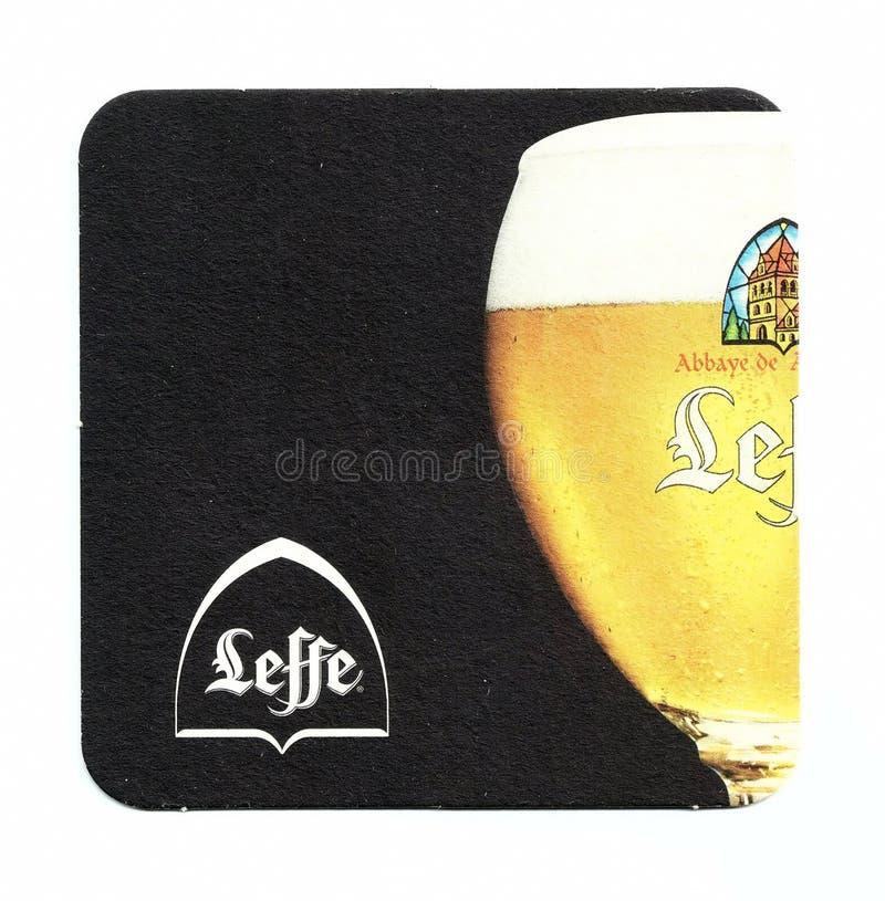Sottobicchiere della birra di Leffe fotografia stock libera da diritti