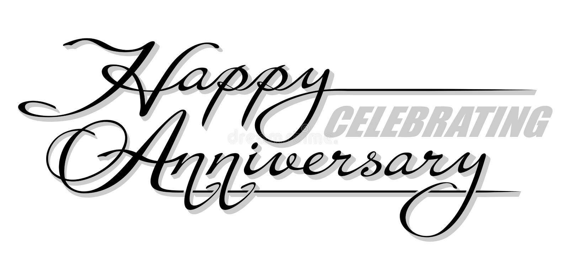 Sottolini il ` di celebrazione felice di anniversario del ` scritto a mano del testo con ombra Iscrizione disegnata a mano di cal illustrazione di stock