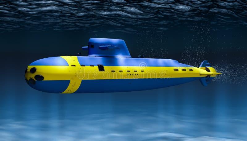 Sottomarino della marina svedese, concetto rappresentazione 3d illustrazione di stock