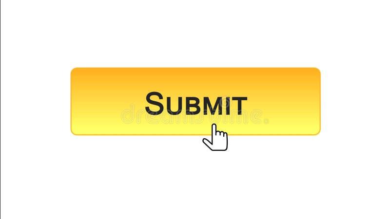 Sottoponga il bottone dell'interfaccia di web cliccato con il cursore del topo, colore arancio, online illustrazione di stock