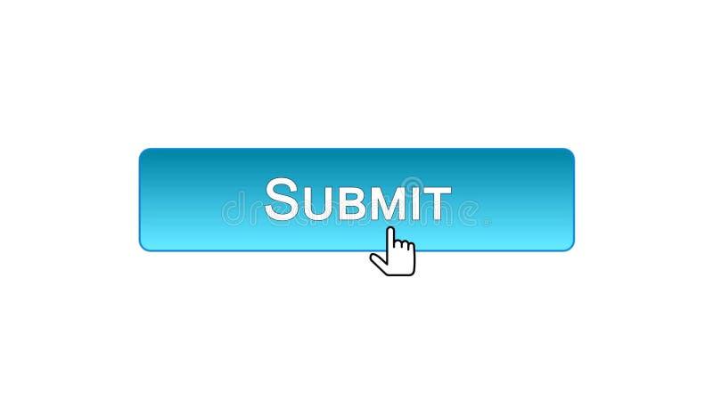 Sottoponga il bottone dell'interfaccia di web cliccato con il cursore del topo, colore blu, online illustrazione vettoriale