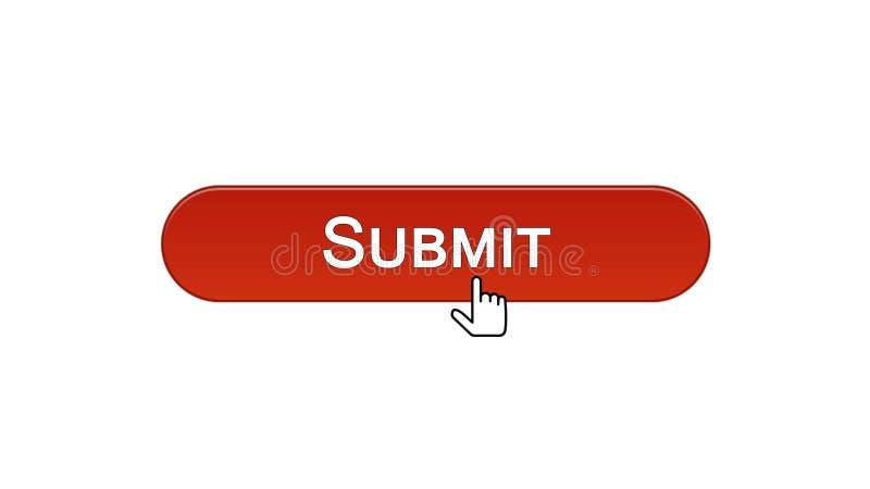 Sottoponga il bottone dell'interfaccia di web cliccato con il cursore del topo, colore rosso del vino, online illustrazione vettoriale