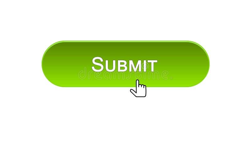 Sottoponga il bottone dell'interfaccia di web cliccato con il cursore del topo, colore verde, online illustrazione di stock