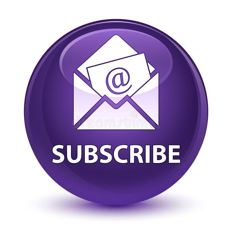 Sottoscriva (icona del email del bollettino) il bottone rotondo porpora vetroso royalty illustrazione gratis