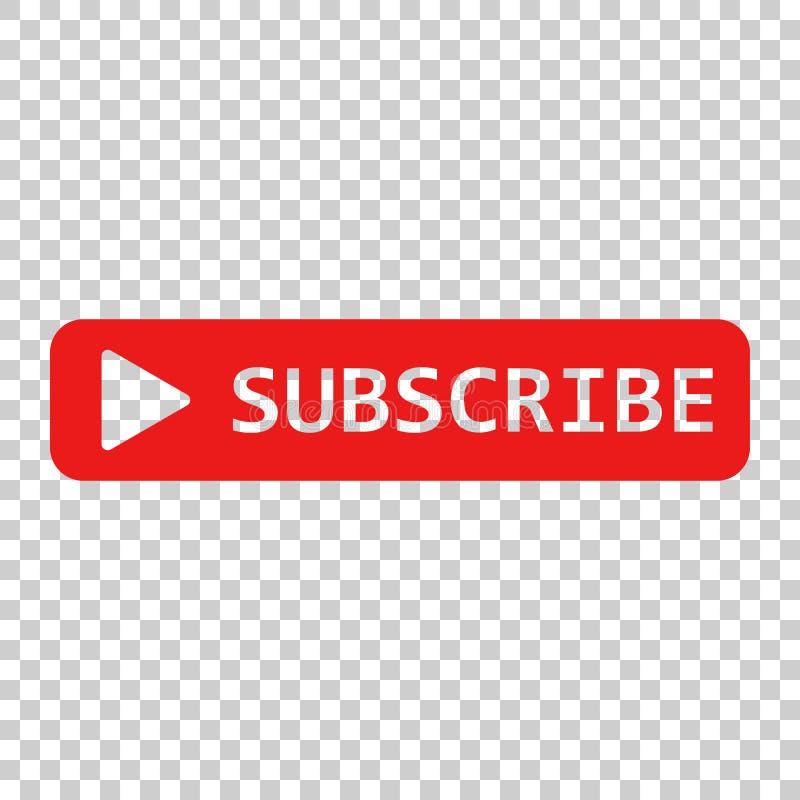 Sottoscriva l'icona del bottone Illustrazione di vettore su transpare isolato illustrazione di stock