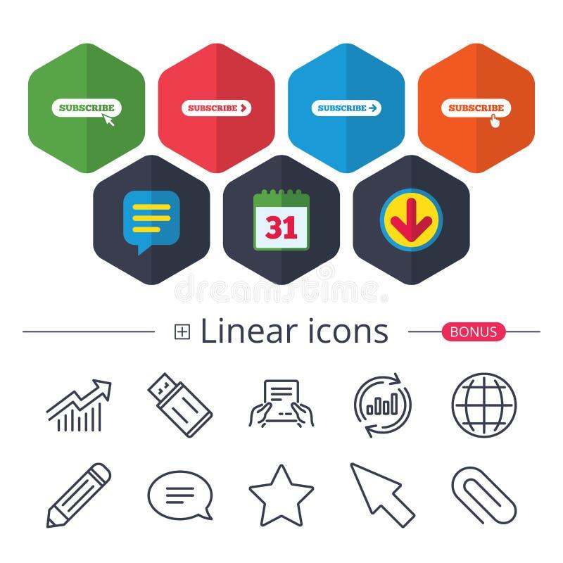 Sottoscriva le icone Segni di appartenenza con la freccia royalty illustrazione gratis