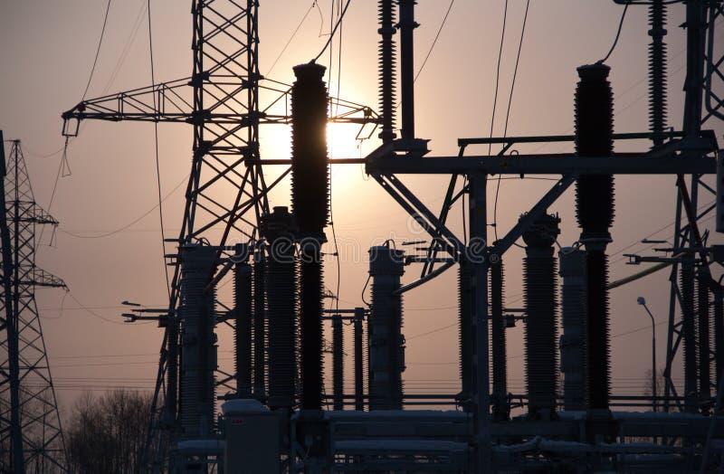 Sottostazione di elettricità immagini stock