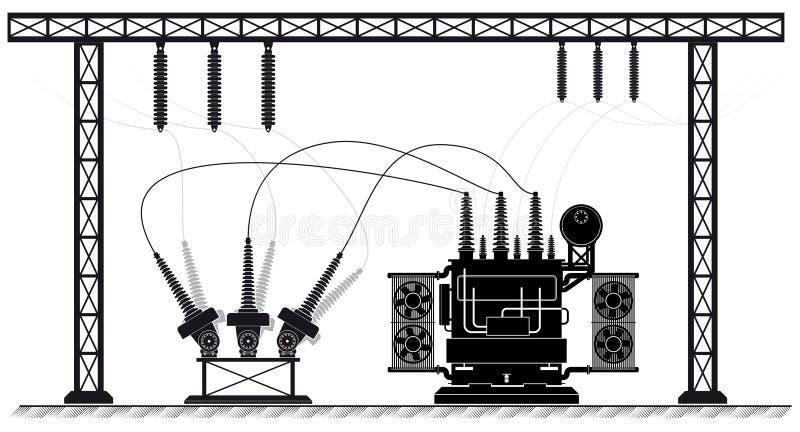 Sottostazione elettrica Il trasformatore ed il commutatore ad alta tensione Illustrazione bianca nera Attrezzatura elettronica royalty illustrazione gratis