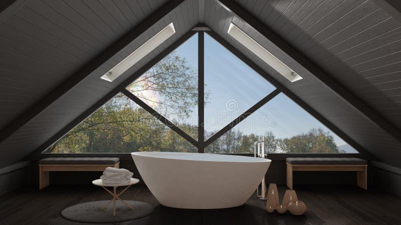 Sottotetto classico del mezzanino con la grande finestra panoramica, bagno della stazione termale, fotografie stock