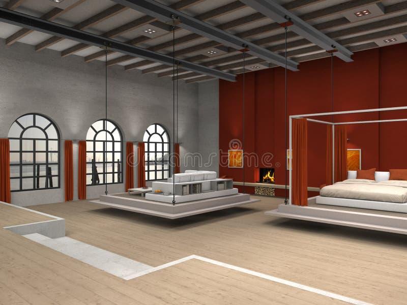 Sottotetto con area mobile del salone e della camera da letto royalty illustrazione gratis