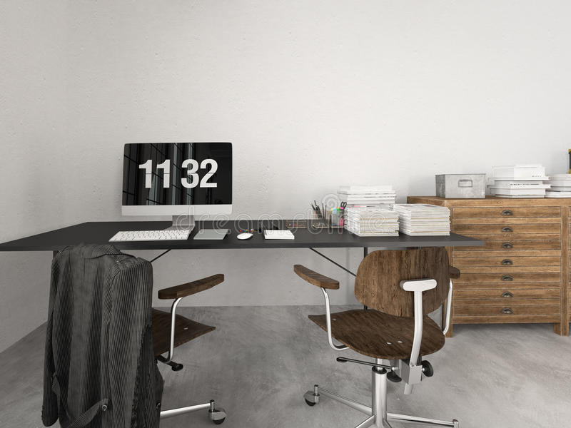Sottotetto industriale moderno rappresentazione 3d fotografia stock