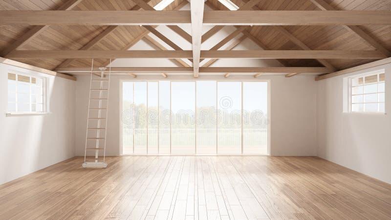 Sottotetto minimalista del mezzanino, spazio industriale vuoto, roofin di legno royalty illustrazione gratis