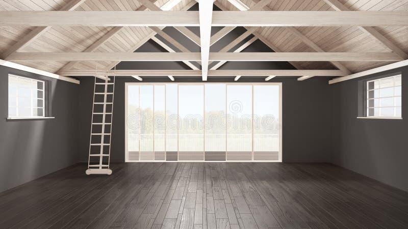 Sottotetto minimalista del mezzanino, spazio industriale vuoto, roofin di legno fotografie stock