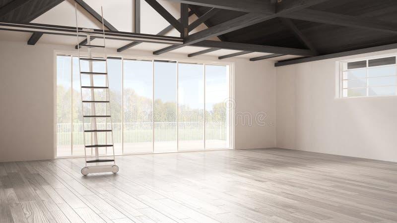 Sottotetto minimalista del mezzanino, spazio industriale vuoto, roofin di legno immagine stock libera da diritti