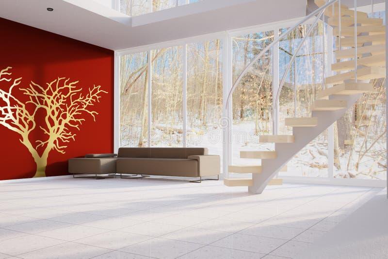 Sottotetto moderno con la parete rossa royalty illustrazione gratis