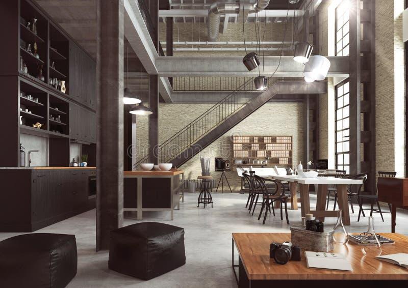 Sottotetto moderno progettato come appartamento aperto di piano immagine stock libera da diritti