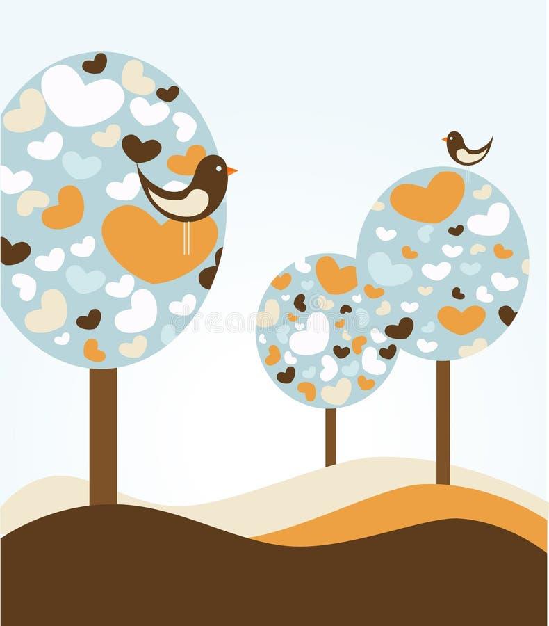 Sottragga gli alberi di amore royalty illustrazione gratis