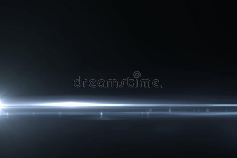 Sottragga gli impulsi luminosi blu ed emette luce fondo di moto delle perdite, con le linee orizzontali movimento di defocus illustrazione di stock