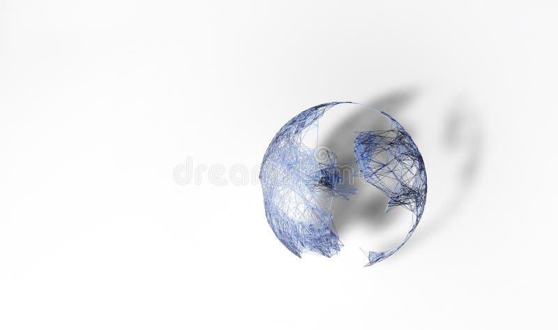 Sottragga il concetto del Internet Mappa del mondo e struttura di rete poligonali del plesso di visualizzazione illustrazione 3D royalty illustrazione gratis